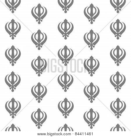 Sikh Symbol Seamless Pattern Grey