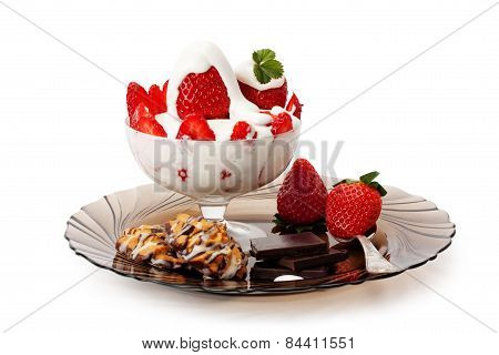 Strawberries With Cream , Cookies And Chocolate