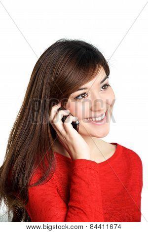 Asian Girl Talking Mobile Phone