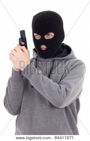 Man In Mask With Gun Isolated On White