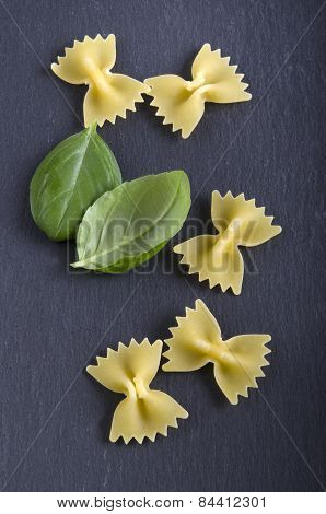 Farfalle And Basil On Slate