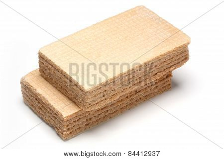 Two Creamy Sweet Wafers Isolated On White Background