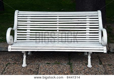 White Bench In Front Of Green Grass And Bushes