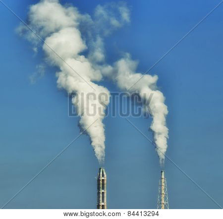 Blurred - Plant Stack With White Smoke Against Blue Sky