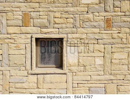 Stone Wall With Window Closeup