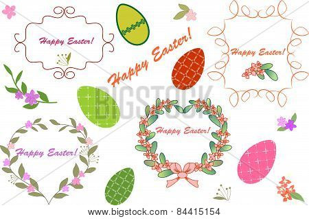 Happy Easter Card With Floral Elements. Vector Illustration. Shabby Style.