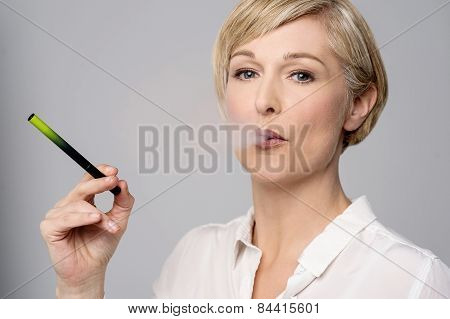 Woman With E-cigarette.