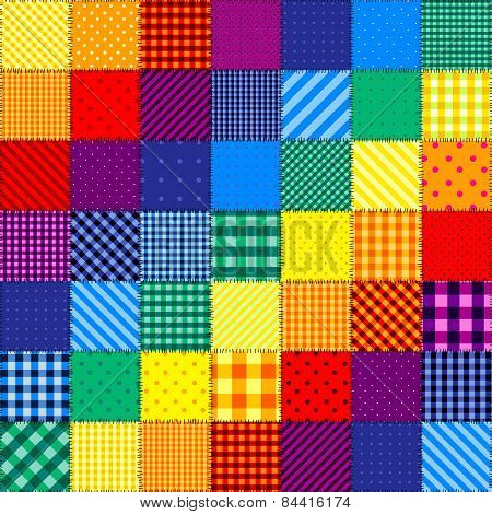 Patchwork pattern of rainbow colors.