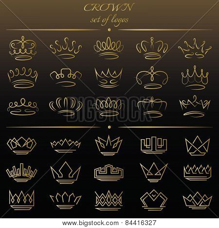 Set of crowns in different styles.