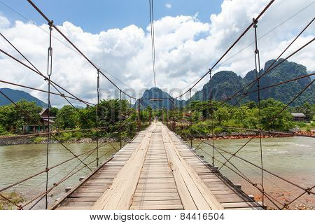 Wooden bridge, Vang Vieng village, Laos