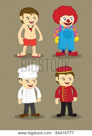 Life Guard Clown Chef Bellboy Vector Illustration