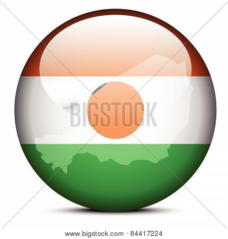Map On Flag Button Of Republic  Niger