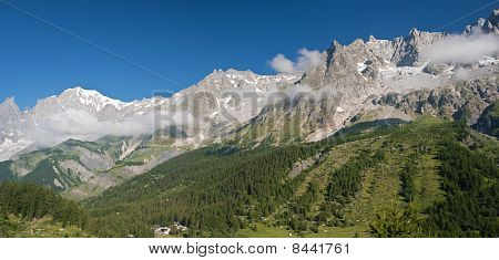 Ferret Valley With Mont Blanc