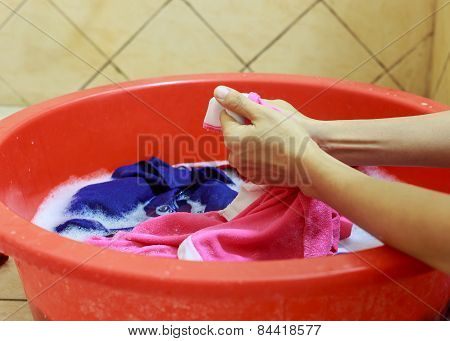 Washing Cloth By Hands