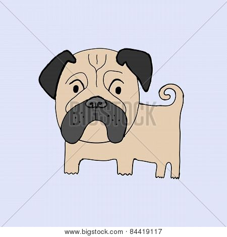 Pug Dog Handmade Ink Vector Illustration