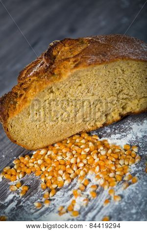 Corn bread, on the wooden table