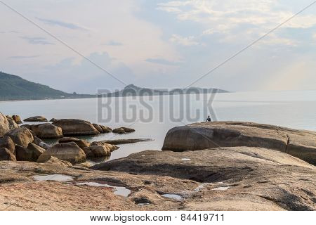 Sunrise In The Morning With Fog And Famous Grandmother Rock On Lamai Beach. Koh Samui, Thailand