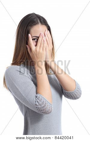 Embarrassed Woman Looking Through Her Hands Covering Her Face