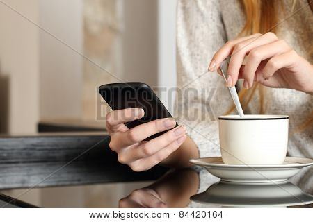 Hand Using A Smart Phone During Breakfast At Home