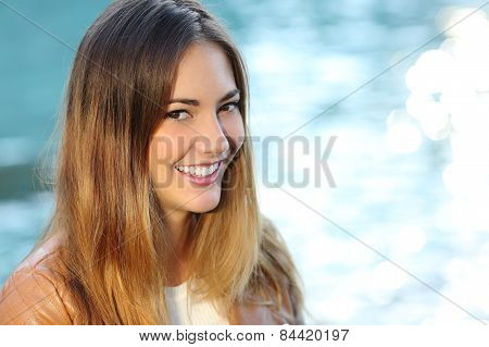 Happy Girl With Perfect Smile And White Tooth On The Beach