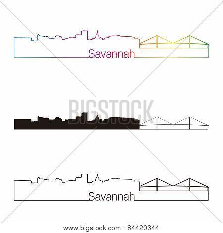 Savannah Skyline Linear Style With Rainbow