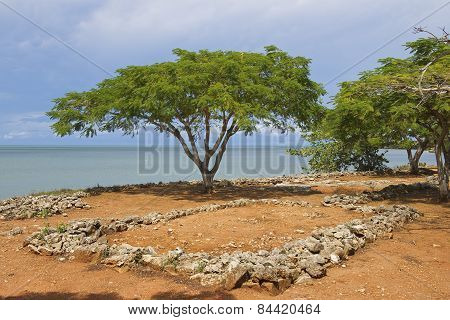 Ruins of La Isabella settlement in Puerto Plata, Dominican Republic.