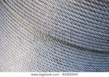Close-up Of Wire Rope.industrial Metal Wire Cable.