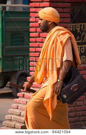 Delhi, India - November 5: Unidentified Man Walks In The Street On November 5, 2014 In Delhi, India.