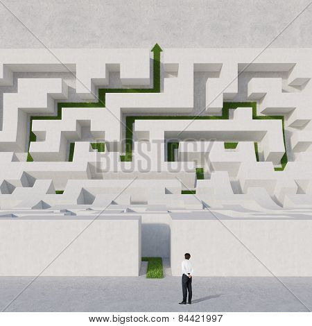 Businessman Looking At Labyrinth Bend