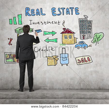 Realtor Drawing Real Estate Concept