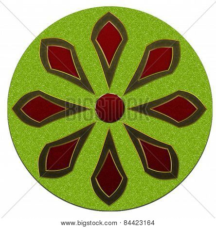 Green And Red Abstract Flower