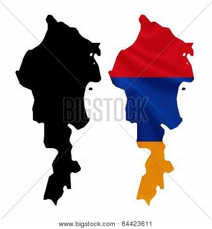 Armenia - Waving national flag on map contour with silk texture