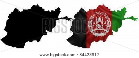 Afghanistan - Waving national flag on map contour with silk texture