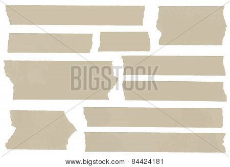 Set of horizontal and different size sticky type,adhesive pieces