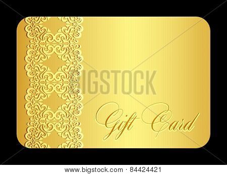 Luxury Golden Gift Card With Imitation Of Lace