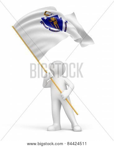 Man and flag of Massachusetts (clipping path included)