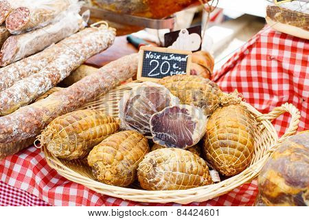 French Saucissons And Ham Display In Market In South Of France