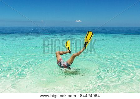 A Man Is Diving In A Flipper