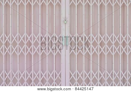 Pink Metal Grille Sliding Door With Pad Lock And Aluminium Handle
