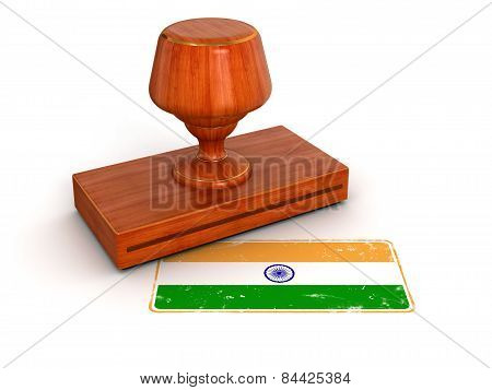 Rubber Stamp Indian flag (clipping path included)