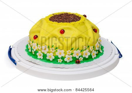 yellow birthday cake sunflower with ladybird and flowers isolated
