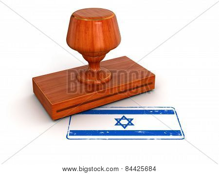Rubber Stamp Israeli flag (clipping path included)