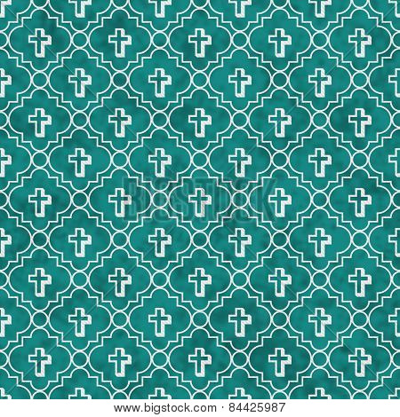 Teal And White Cross Symbol Tile Pattern Repeat Background