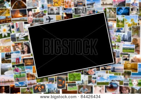 Postcard Or Photo Template With A Blurred Background Of Photos And Postcards
