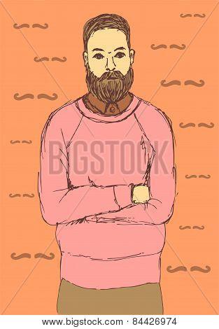 Sketch Handsome Hipster Guy In Vintage Style