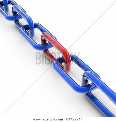 Blue Chain With One Red Link