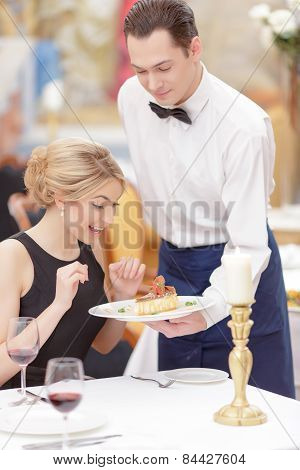 Attractive couple visiting luxury restaurant