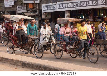 Delhi, India - November 5: Unidentified People Ride Cycle Rickshaws At Chandni Chowk On November 5,