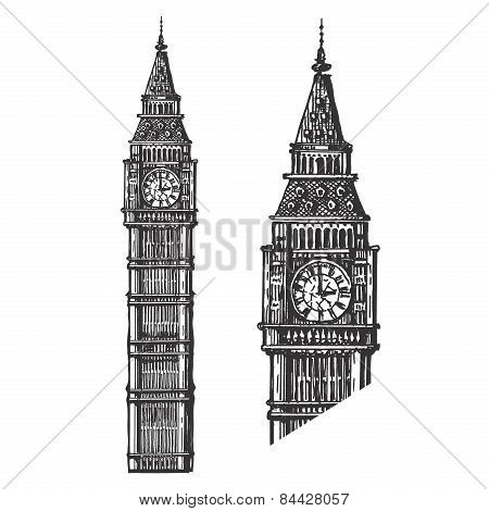 Big Ben vector logo design template. England or London icon.
