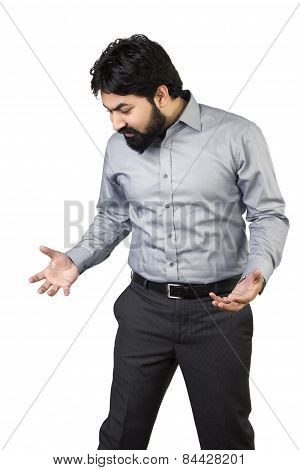 Stressed businessman over a white background